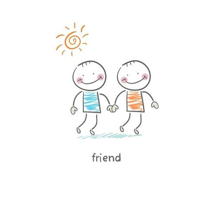 teamwork cartoon: Friends  Illustration  Illustration