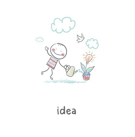Man grows idea  Illustration  Stock Vector - 17954765