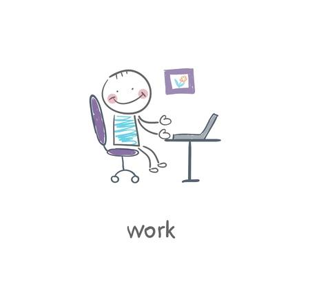 Ilustración Oficina trabajador
