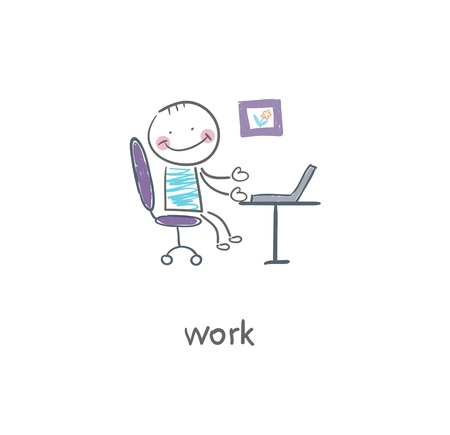 young woman sitting: Office worker  Illustration