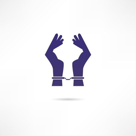 woman prison: Hands in handcuffs icon Illustration