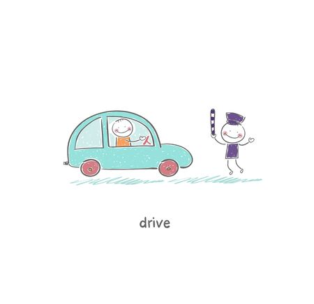 The driver and a policeman Vector