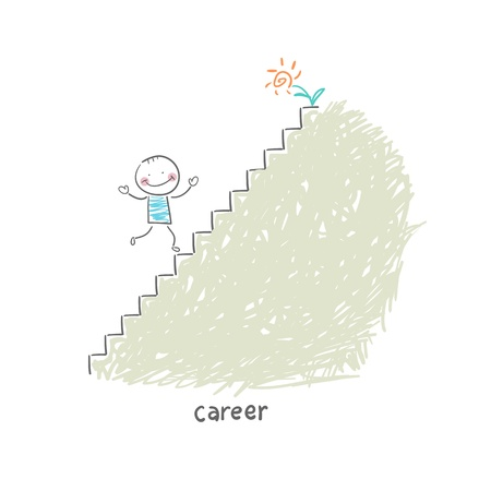 climbing ladder: Career Ladder. Illustration.