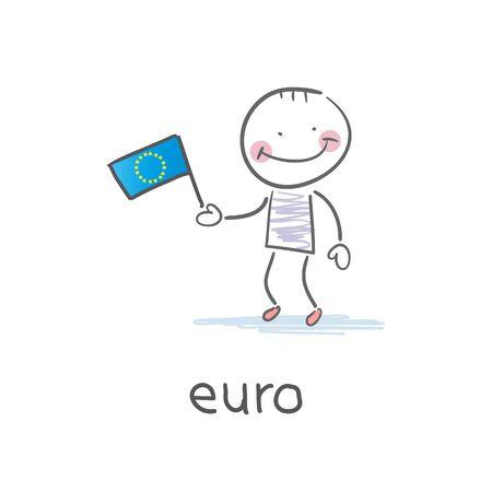 Man holding euro flag. Illustration Vector
