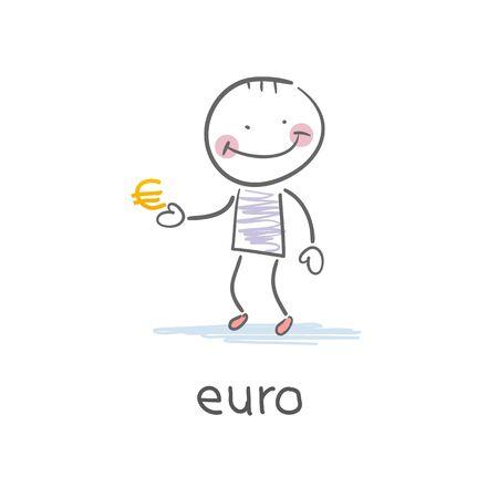 euro teken: Man die euro teken. Illustratie