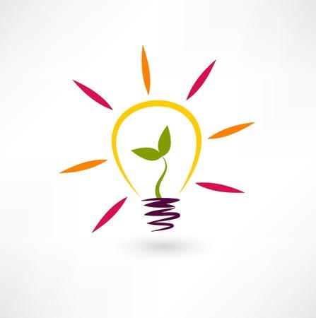 natural light: Bombilla icono y planta