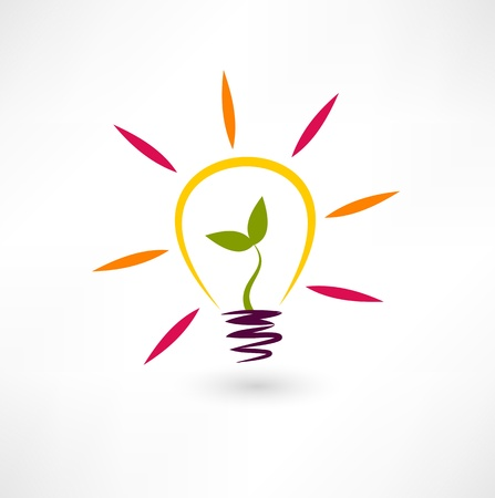 Bulb and plant icon Illustration