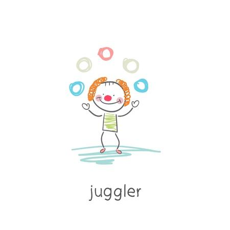 juggler: Clown juggler. Illustration.