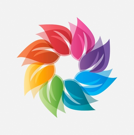 alternative energy: Colored leaves icon