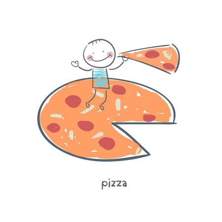 Man eats pizza. Illustration. Vector