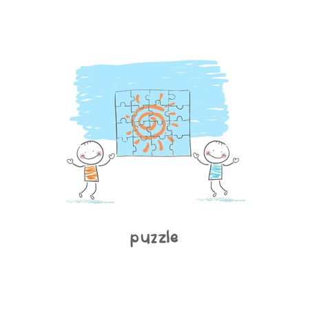 Man and  puzzle. Illustration. Vector