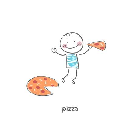 eats: Man eats pizza. Illustration.