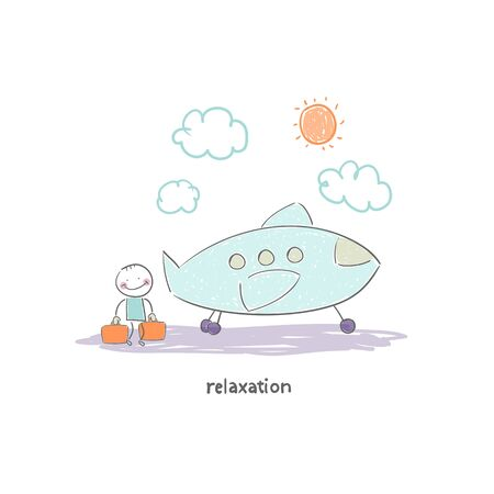 Man flying on holiday by plane. Illustration.