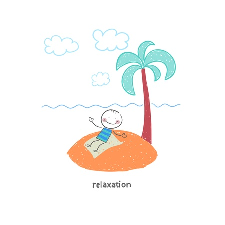 Man on vacation. Illustration. Stock Vector - 18035559