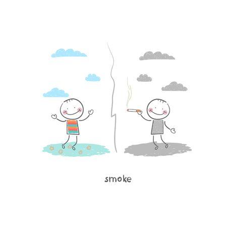 Smoker. Illustration.