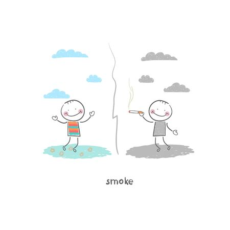 smoker: Smoker. Illustration.