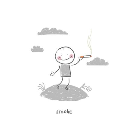 smokers: Smoker. Illustration.