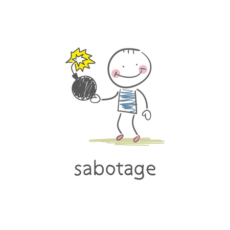 Sabotage. Illustration Vector