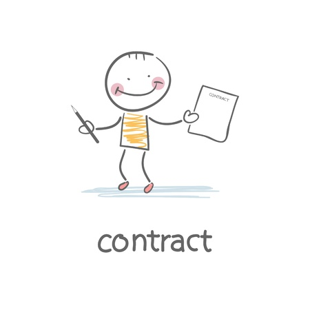 Person signs the contract  Illustration Stock Vector - 18244658