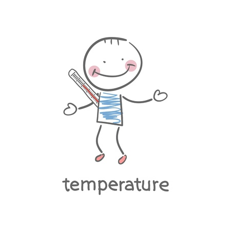 Man measures the body temperature  Illustration  Vector
