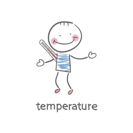body temperature: Man measures the body temperature  Illustration  Illustration