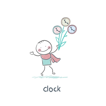 Man and clock Stock Vector - 18276856