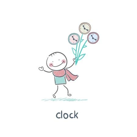 Man and clock Stock Vector - 18276856