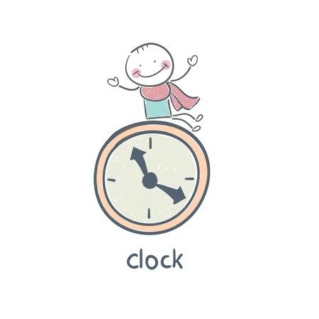 Man and clock Stock Vector - 18276846