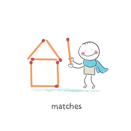 Man and matches Vector