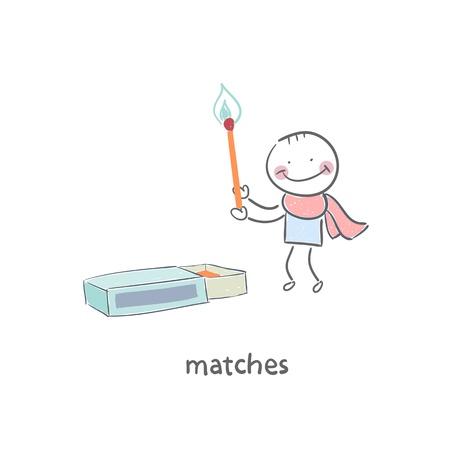 Man and matches box Vector