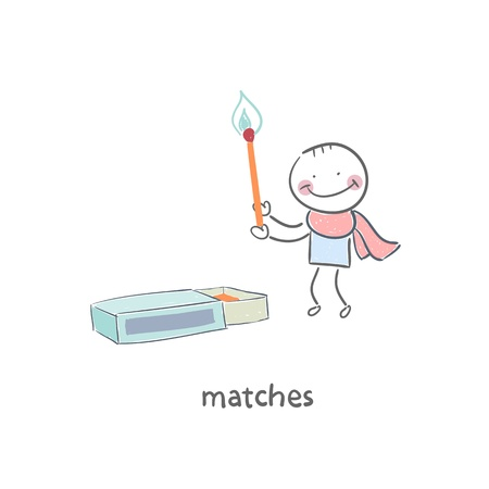 box of matches: Man and matches box