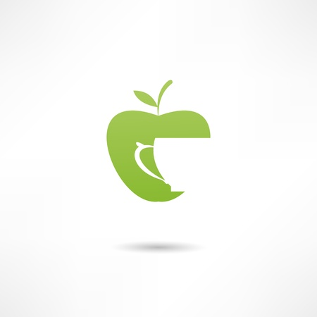 An apple and a cup. Icon of apple juice Vector