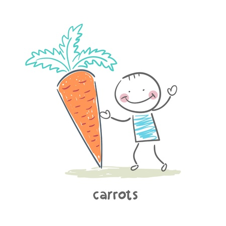 Man and carrots Vector