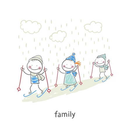 Family skiing Ilustrace