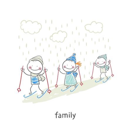 Ski en famille Banque d'images - 18558019