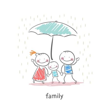 lluvia paraguas: Familia bajo el paraguas