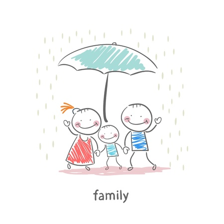 umbrella rain: Family under umbrella
