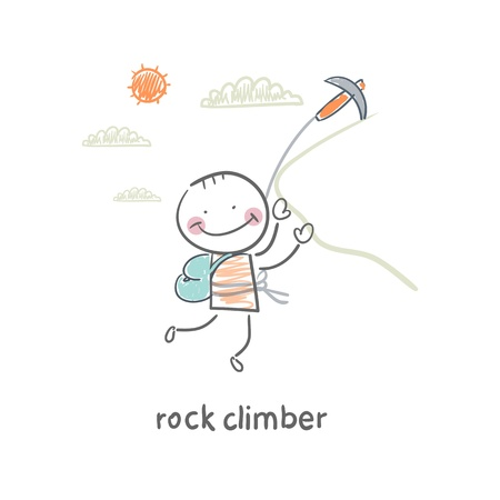 rappelling: rock climber