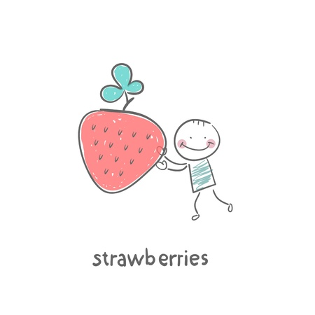 digitally generated image: Man and strawberries