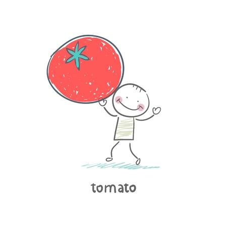 Man and tomato Illustration