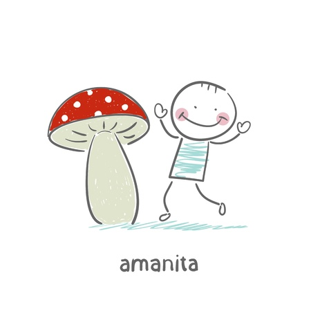 Amanita and man Stock Vector - 18694263