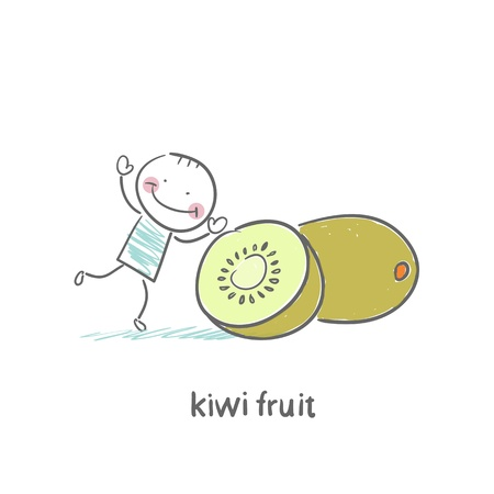 Kiwi fruit and a man Stock Vector - 18694234