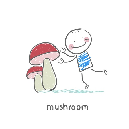 eating lunch: Mushrooms and man