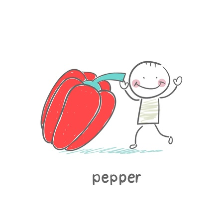 Pepper and people Stock Vector - 18694237