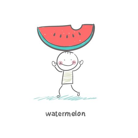 Watermelon and people Stock Vector - 18694183