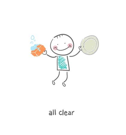 Dishwasher. Illustration.