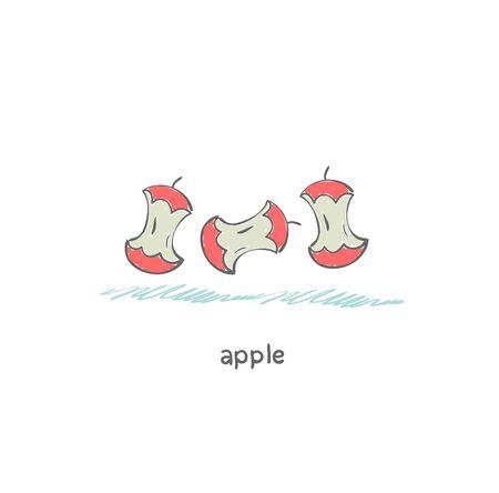 eaten: apple core Stock Photo