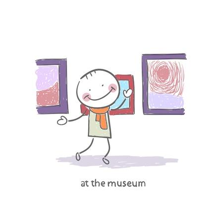 Homme au Musée Banque d'images - 18716923