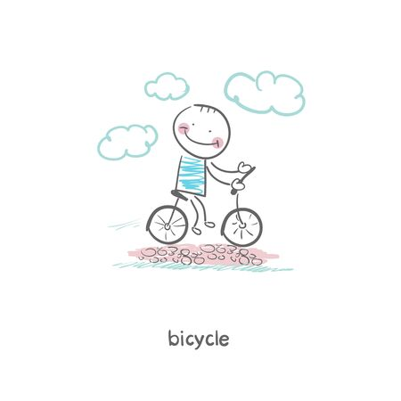 A man rides a bicycle. Illustration. illustration