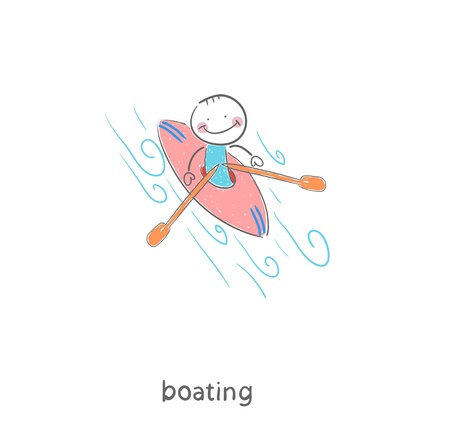 A man in a kayak. Illustration.